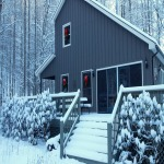 cabin with snow