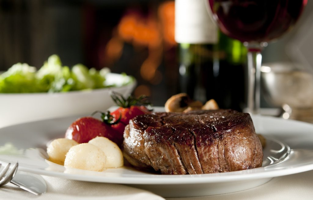 steak and wine dinner