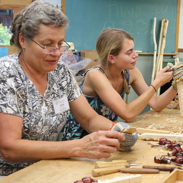 Women woodcarving