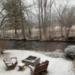 Snow firepit creekside